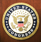 Washington, DC - July 14, 2009 -- Logo of the United States Congress on a lectern in the Rayburn Room in the U.S. Capitol on Tuesday, July 14, 2009..Credit: Ron Sachs / CNP