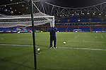 The groundsman taking down the goal nets at the Reebok Stadium, after Bolton Wanderers took on Liverpool in a Barclays Premier League game. The match was won by Bolton by 3 goals to 1, watched by a near-capacity crowd of 26,854. The win lifted Bolton out of the relegation places in England's top division, while Liverpool remained seventh.