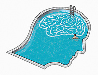 Man inside head and brain swimming pool ExclusiveImage