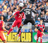 Santa Clara, California - Saturday July 28, 2012: Chicago Fire's Alex and San Jose Earthquakes' Victor Bernardez jump for the ball during a game at Buck Shaw Stadium, Stanford, Ca    San Jose Earthquakes and Chicago Fire tied 0 - 0