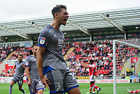 Lincoln City's Tyler Walker celebrates scoring the opening goal<br /> <br /> Photographer Chris Vaughan/CameraSport<br /> <br /> The EFL Sky Bet Championship - Rotherham United v Lincoln City - Saturday 10th August 2019 - New York Stadium - Rotherham<br /> <br /> World Copyright © 2019 CameraSport. All rights reserved. 43 Linden Ave. Countesthorpe. Leicester. England. LE8 5PG - Tel: +44 (0) 116 277 4147 - admin@camerasport.com - www.camerasport.com