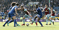 Burnley's Ashley Barnes is surrounded just outside the Leicester City penalty area<br /> <br /> Photographer Rich Linley/CameraSport<br /> <br /> The Premier League - Burnley v Leicester City - Saturday 14th April 2018 - Turf Moor - Burnley<br /> <br /> World Copyright &copy; 2018 CameraSport. All rights reserved. 43 Linden Ave. Countesthorpe. Leicester. England. LE8 5PG - Tel: +44 (0) 116 277 4147 - admin@camerasport.com - www.camerasport.com