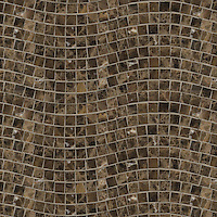 River Run, a hand-cut stone mosaic, shown in 3 cm polished Emperador Dark.
