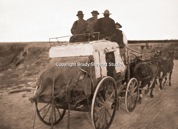 Jerome ID:  Brady Stewart and friends riding into town for food and beverage - 1910.  Brady Stewart and three friends went to Idaho on a lark from 1909 thru early 1912. As part of the Mondell Homestead Act, they received a land grant of 160 acres north of the Snake River.  For 2 ½  years, Brady Stewart photographed the adventures of farming along with the spectacular landscapes.