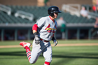 Surprise Saguaros second baseman Andy Young (29), of the St. Louis Cardinals organization, runs to first base during an Arizona Fall League game against the Salt River Rafters at Salt River Fields at Talking Stick on November 5, 2018 in Scottsdale, Arizona. Salt River defeated Surprise 4-3 . (Zachary Lucy/Four Seam Images)