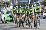 Euskadi-Murias in action during Stage 1 of La Vuelta 2019, a team time trial running 13.4km from Salinas de Torrevieja to Torrevieja, Spain. 24th August 2019.<br /> Picture: Luis Angel Gomez/Photogomezsport | Cyclefile<br /> <br /> All photos usage must carry mandatory copyright credit (© Cyclefile | Luis Angel Gomez/Photogomezsport)
