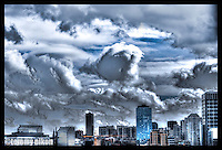 Dramatic clouds over downtown Seattle with HDR