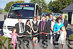At the launch on Tuesday afternoon of the new Kerry/Cork Cancer Health Link bus bought by the Kerry Cancer Support Group were: Sarah Coffey (5), Sean Prendergast (Manager KCSG), Theresa Higgins Walker (Lee Strand), Mary Lynch (KCSG), Tom Hutch, Fr Pat Crean Lynch, Cathal de Lacey, At the launch on Tuesday afternoon in the Ballygarry Hotel of the new Kerry/Cork Cancer Health Link bus bought by the Kerry Cancer Support Group were: Sarah Coffey, Sean Prendergast (Manager KCSG), Theresa Higgins Walker (Lee Strand), Mary Lynch (KCSG), Tom Hutch, Fr Pat Crean Lynch, Cathal de Lacey, Thys Vogels<br /> (Ballygarry House Hotel and Spa), Enda Curtayne, Jenny Pigott (Fexco) Jay Galvin (KCSG) and Eibhinn Coffey.