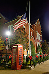 The United States flag outside the Oxford City Hall is at half-mast in recognition of the Nov. 13 terror attacks in Paris, France. Photo by Robert Jordan/Ole Miss Communications