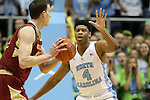 30 January 2016: North Carolina's Isaiah Hicks (4) guards Boston College's Dennis Clifford (24). The University of North Carolina Tar Heels hosted the Boston College Eagles at the Dean E. Smith Center in Chapel Hill, North Carolina in a 2015-16 NCAA Division I Men's Basketball game. UNC won the game 89-62.