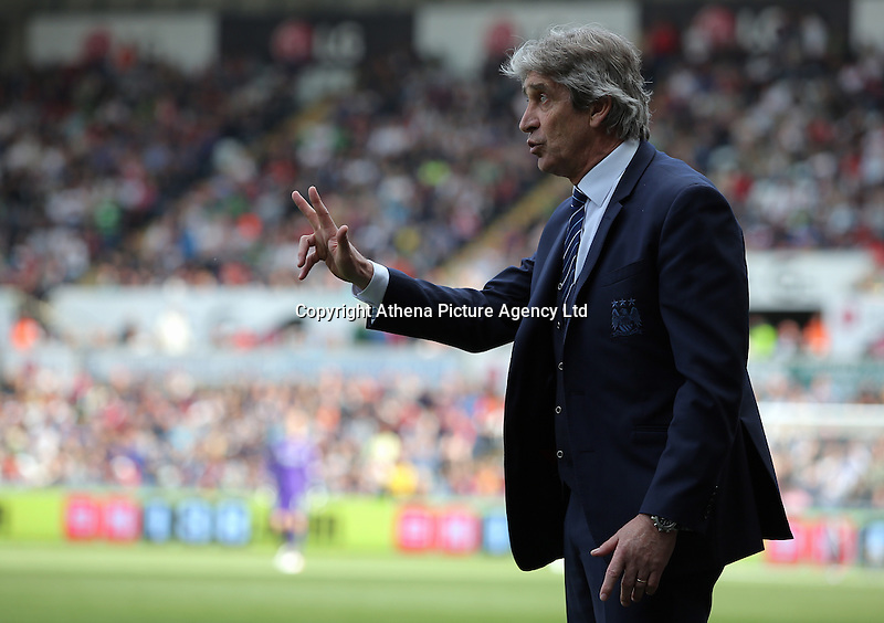 Manuel Pellegrini, Manager of Manchester City during the Swansea City FC v Manchester City Premier League game at the Liberty Stadium, Swansea, Wales, UK, Sunday 15 May 2016