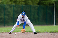 29 April 2009: Maxime Charlot takes infield practice during the first of six 2009 MLB European Academy Try-out Sessions throughout Europe, at Stade Pierre Rolland, in Rouen, France. Try-out sessions are run by members of the Major League Baseball Scouting Bureau with assistance from MLBI staff.