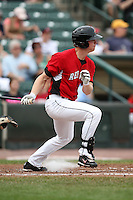 May 2, 2010:  Outfielder Dustin Martin of the Rochester Red Wings at bat during a game vs. the Durham Bulls at Frontier Field in Rochester, NY.  Rochester defeated Durham in extra innings by the score of 7-6.  Photo By Mike Janes/Four Seam Images
