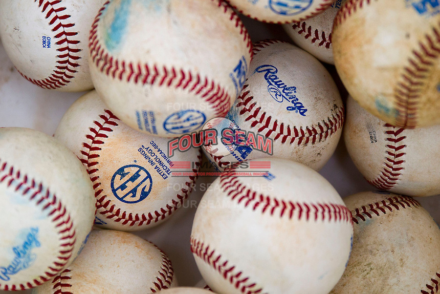 Southeastern Conference baseballs on April 25, 2015 at Alex Box Stadium in Baton Rouge, Louisiana. Texas A&M defeated LSU 6-2. (Andrew Woolley/Four Seam Images)