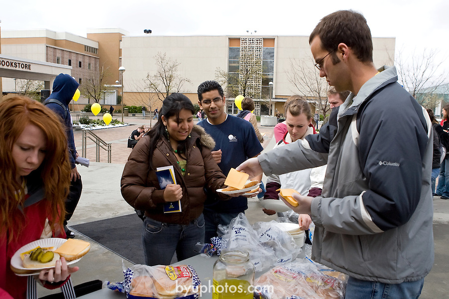 0703-66.Choose to Give Student Annual Fund, LDSP.Free Hamburgers, Folkdancers and Football players.on WSC Brigham Square..March 28, 2007..Photography by Mark A. Philbrick..Copyright BYU Photo 2007.All Rights Reserved .photo@byu.edu  (801)422-7322