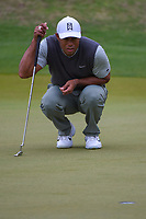 Tiger Woods (USA) lines up his putt on 4 during day 4 of the WGC Dell Match Play, at the Austin Country Club, Austin, Texas, USA. 3/30/2019.<br /> Picture: Golffile | Ken Murray<br /> <br /> <br /> All photo usage must carry mandatory copyright credit (© Golffile | Ken Murray)