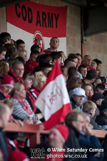Fleetwood Town 1 Wrexham 1, 10/04/2012. Highbury Stadium, Football Conference Premier. Home supporters in the Memorial Stand watching the players warming up before Fleetwood Town hosted Wrexham in a Blue Square Conference Premier match at Highbury Stadium. The match, between the top two teams in the division ended in a 1-1 draw watched by a near-capacity crowd of 4996. A victory for the hosts would have seen the club promoted to the Football League for the first time. Photo by Colin McPherson.