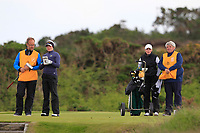 Beatrice Wallin (SWE) and Fiona Liddell (SCO) on the 7th tee during Round 3 Matchplay of the Women's Amateur Championship at Royal County Down Golf Club in Newcastle Co. Down on Friday 14th June 2019.<br /> Picture:  Thos Caffrey / www.golffile.ie