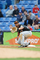 Akron RubberDucks first baseman Bobby Bradley (44) stretches for a throw during a game against the Binghamton Rumble Ponies on May 12, 2017 at NYSEG Stadium in Binghamton, New York.  Akron defeated Binghamton 5-1.  (Mike Janes/Four Seam Images)