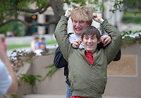 """Billy Schmidt '17 (blond) and Nick Justice '17 (green jacket) Occidental College students show their """"spirit"""" by wearing costumes on Halloween, Oct. 31, 2014. (Photo by Marc Campos, Occidental College Photographer)"""