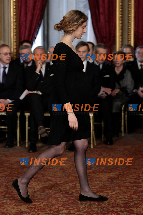 Marianna Madia col pancione<br /> Roma 22-02-2014 Quirinale. Giuramento del nuovo Governo.<br /> Swearing in ceremony of the new government at the Quirinale Palace<br /> Photo Samantha Zucchi Insidefoto