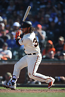 SAN FRANCISCO, CA - APRIL 29:  Brandon Crawford #35 of the San Francisco Giants bats against the Los Angeles Dodgers during the game at AT&T Park on Sunday, April 29, 2018 in San Francisco, California. (Photo by Brad Mangin)
