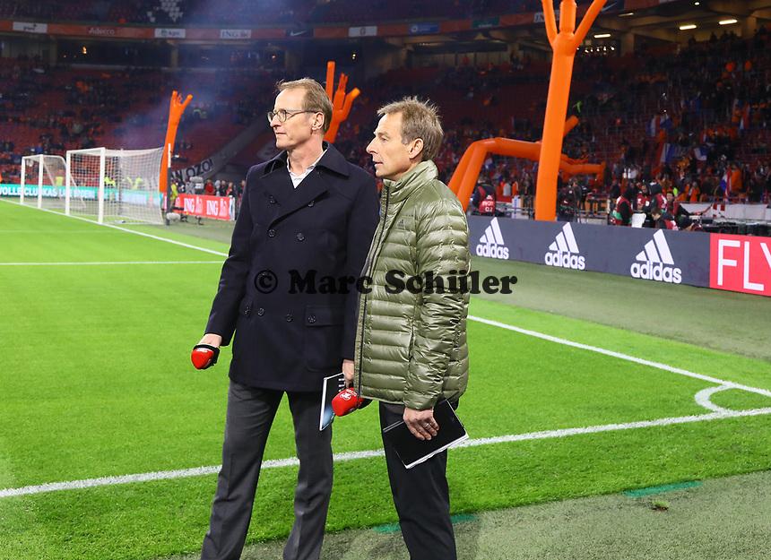 Ex-Bundestrainer Jürgen Klinsmann arbeitet jetzt als Experte für RTL - 24.03.2019: Niederlande vs. Deutschland, EM-Qualifikation, Amsterdam Arena, DISCLAIMER: DFB regulations prohibit any use of photographs as image sequences and/or quasi-video.