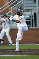 Jonathan Arauz (6) of the Buies Creek Astros at bat against the Winston-Salem Dash at Jim Perry Stadium on August 15, 2018 in Buies Creek, North Carolina.  The Astros defeated the Dash 5-0.  (Brian Westerholt/Four Seam Images)