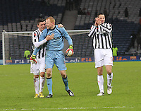 St Mirren players (left to right) Graham Carey, Craig Samson and Lee Mair after winning in the St Mirren v Celtic Scottish Communities League Cup Semi Final match played at Hampden Park, Glasgow on 27.1.13.