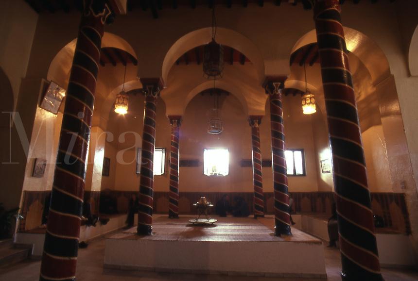 Tunisia. Inside Cafe M Rabet. The Medina. Tunis