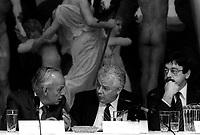 FILE - REne Levesque,Bernard Lamarre et Clement Richard au Musee des Beaux-Arts de Montreal, 27 septembre 1985