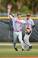 Ball State Cardinals outfielder Matt Eppers (35) throws to first in front of Alex Maloney (6) during a game against the Dartmouth Big Green on March 7, 2015 at North Charlotte Regional Park in Port Charlotte, Florida.  Ball State defeated Dartmouth 7-4.  (Mike Janes/Four Seam Images)