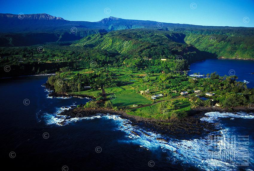 Aerial view of the Keane Peninsula, an isolated traditional taro community, along the Hana coast