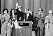 "United States President-elect Jimmy Carter, surrounded by family, acknowledges the cheers of the crowd at an election night rally as he claims victory over US President Gerald R. Ford in Atlanta, Georgia on November 3, 1976.  <br /> Credit: Benjamin E. ""Gene"" Forte / CNP"