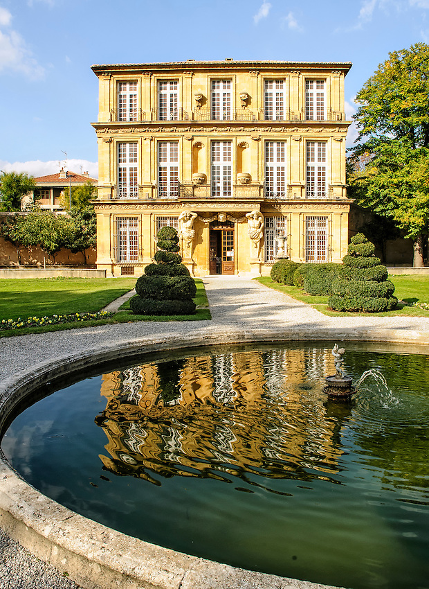 "The Pavillon de Vendôme, in Aix-en-Provence, Provence, France, built in 1667 by the Duke of Vendôme to provide a discreet location for his affair with the ""Belle of Canet."" Today the building is devoted to exhibitions of photography."