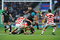 Zach Mercer of England is tackled by Michael Leitch and Masakatsu Nishikawa of Japan during the Quilter International match between England and Japan at Twickenham Stadium on Saturday 17th November 2018 (Photo by Rob Munro/Stewart Communications)