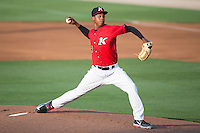 Kannapolis Intimidators starting pitcher Yency Almonte (17) in action against the Delmarva Shorebirds at CMC-Northeast Stadium on June 6, 2015 in Kannapolis, North Carolina.  The Shorebirds defeated the Intimidators 7-2.  (Brian Westerholt/Four Seam Images)