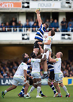 Elliott Stooke of Bath Rugby wins the ball at a lineout. Aviva Premiership match, between Bath Rugby and Saracens on September 9, 2017 at the Recreation Ground in Bath, England. Photo by: Patrick Khachfe / Onside Images