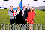 Bertie O'Connor, retiring principal, Cullina National School pictured his family daughter Ciara, granddaughter Evie, wife Mary, son Sean and daughter Deirdre before he departed the school by helicopter on Friday.
