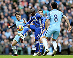 Ngolo Kante of Chelsea tackled by David Silva of Manchester City during the Premier League match at the Etihad Stadium, Manchester. Picture date: December 3rd, 2016. Pic Simon Bellis/Sportimage