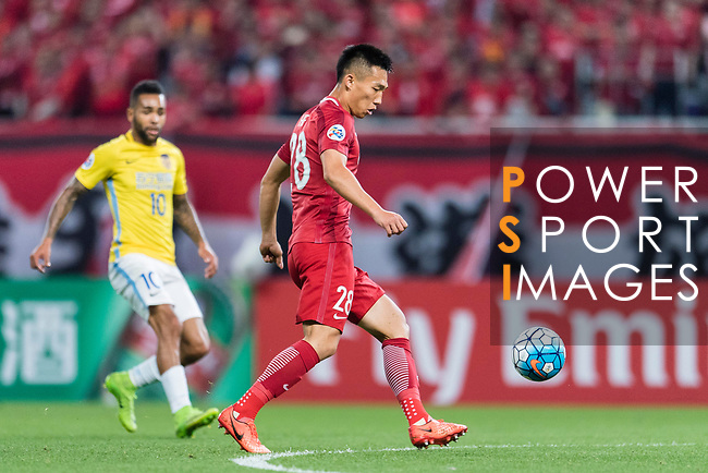 Shanghai FC Defender He Guan in action during the AFC Champions League 2017 Round of 16 match between Shanghai SIPG FC (CHN) vs Jiangsu FC (CHN) at the Shanghai Stadium on 24 May 2017 in Shanghai, China. Photo by Marcio Rodrigo Machado / Power Sport Images