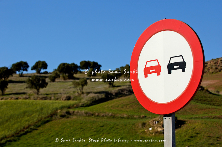 'No overtaking' road sign nearby Ronda, Andalusia, Spain.