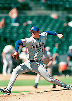 Dan Plesac of the Toronto Blue Jays during a game at the Oakland  Coliseum in Oakland, California during the 1997 season.(Larry Goren/Four Seam Images)