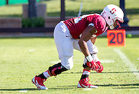 STANFORD, CA - MARCH 7, 2014--Stanford's Peter Kalambayi, during Open Football Practices at Stanford University.