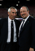 Eddy reia  Rafael Benitez  during the Italian Serie A soccer match between   SSC Napoli and Atalanta  at San Paolo  Stadium in Naples ,March 22 , 2015<br /> <br /> <br /> incontro di calcio di Serie A   Napoli -Atalanta allo  Stadio San Paolo  di Napoli , 22  Marzo 2015