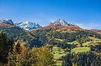 Oesterreich, Kaernten, Moelltal bei Doellach: Herbstlandschaft im Zirknitztal (Nebental des Moelltal) vor den schneebedeckten Gipfeln der Schobergruppe (Hohe Tauern) | Austria, Carinthia, Valley Moelltal near Doellach: autumn scenery at Zirknitz Valley (side valley of Moelltal) and snowcapped summits of Schober Group mountains, part of Hohe Tauern mountains