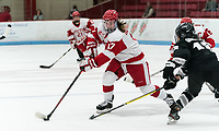 BOSTON, MA - JANUARY 11: Breanna Scarpaci #17 of Boston University on the attack during a game between Providence College and Boston University at Walter Brown Arena on January 11, 2020 in Boston, Massachusetts.
