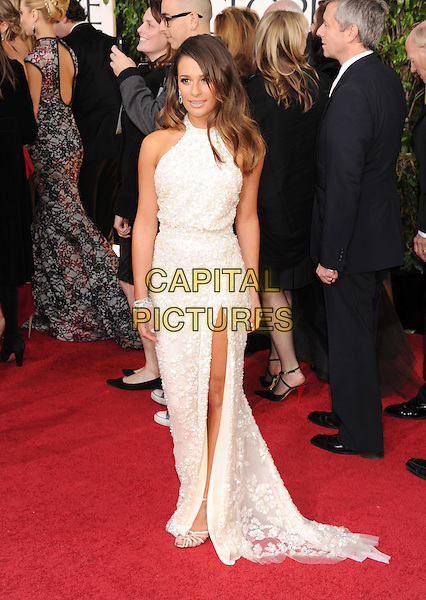 Lea Michele.Arrivals at the 70th Annual Golden Globe Awards held at the Beverly Hilton Hotel, Hollywood, California, USA..January 13th, 2013.globes full length silver sequins sequined sleeveless dress slit split white .CAP/GAG.©GAG/Capital Pictures