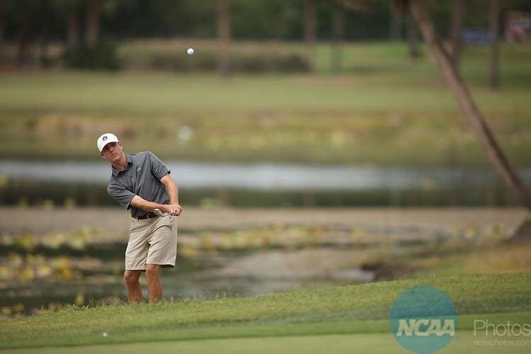 HOWEY IN THE HILLS, FL - MAY 19: Kell Graham of Guilford College chips onto the 18th green during the Division III Men's Golf Championship held at the Mission Inn Resort and Club on May 19, 2017 in Howey In The Hills, Florida. (Photo by Cy Cyr/NCAA Photos via Getty Images)