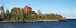 The Historic Marquette Harbor Lighthouse On Lake Superior, Michigan's Upper Peninsula, Panoramic View